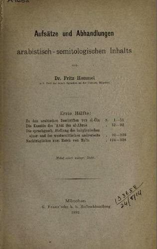 Download Aufsätze und Abhandlungen arabistisch-semitologischen Inhalts