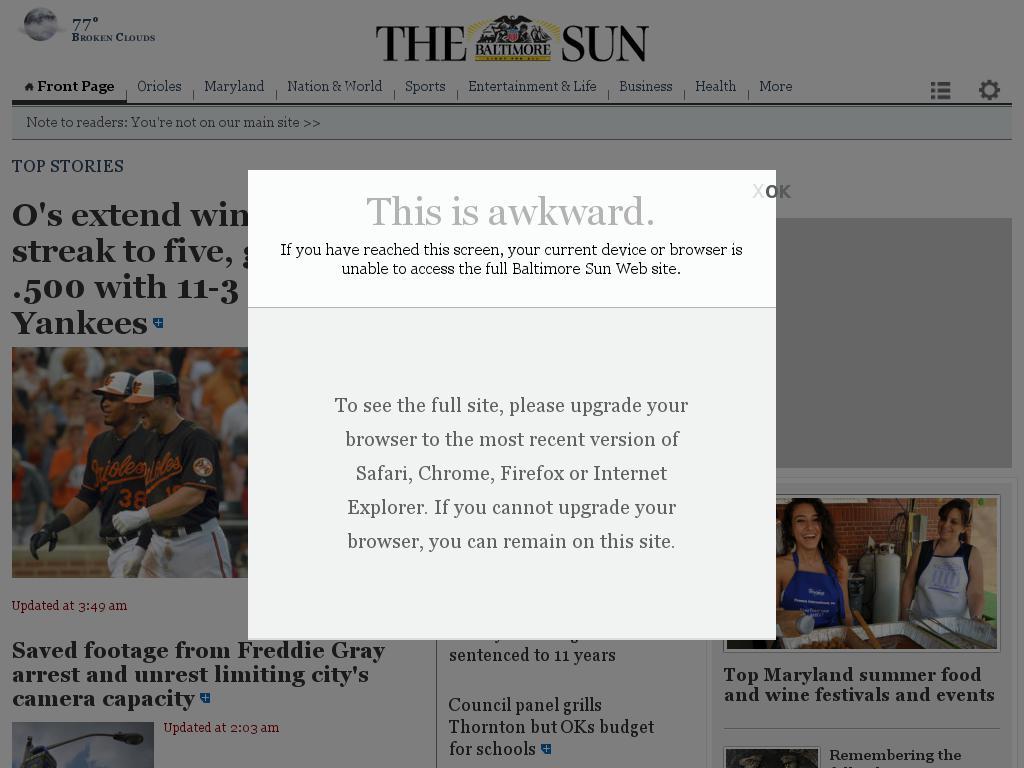 The Baltimore Sun at Saturday June 13, 2015, 5 a.m. UTC