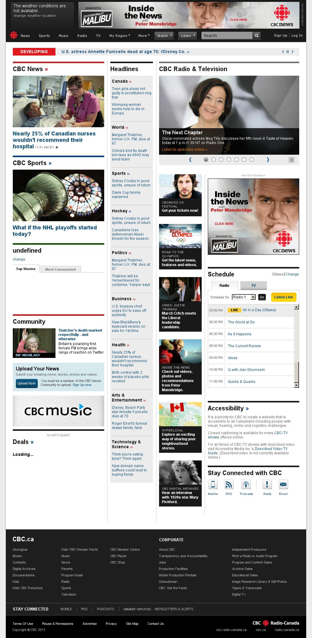 CBC at Monday April 8, 2013, 7:03 p.m. UTC