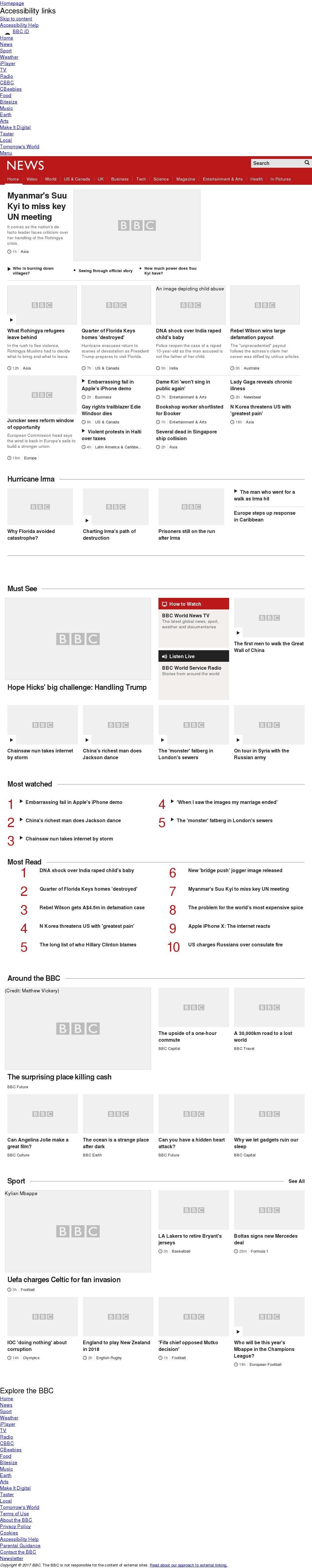 BBC at Wednesday Sept. 13, 2017, noon UTC