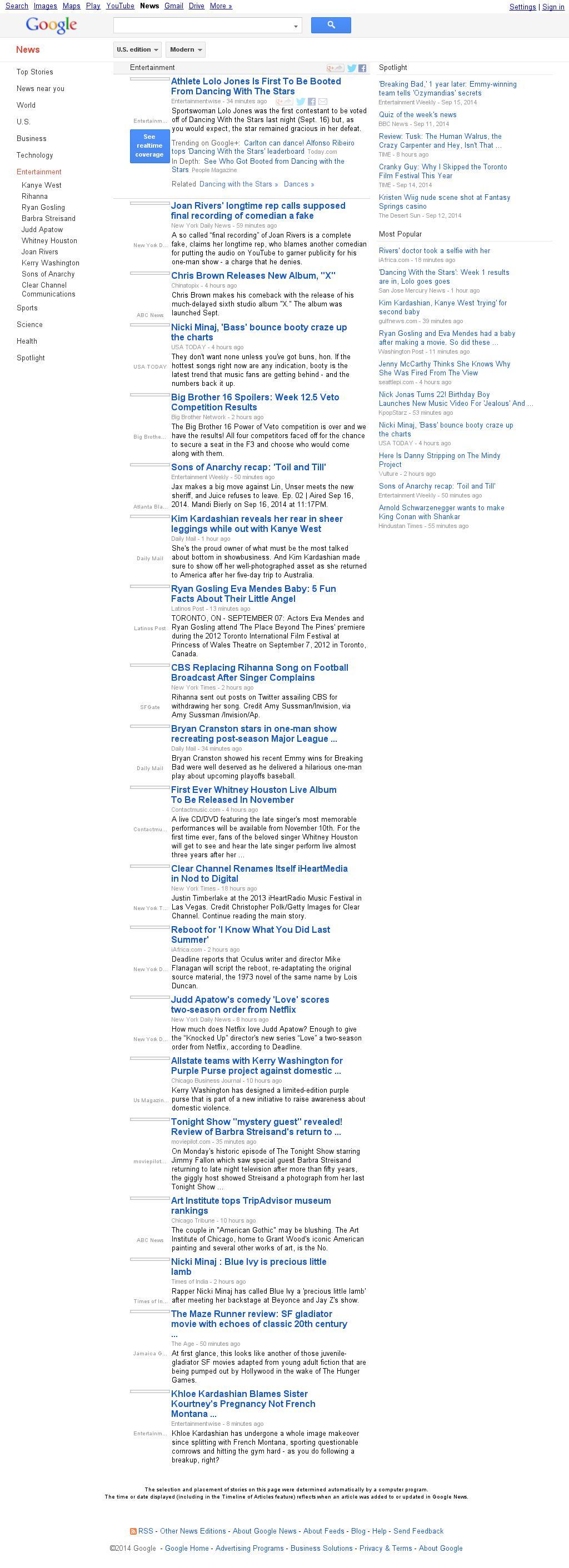 Google News: Entertainment at Wednesday Sept. 17, 2014, 7:07 a.m. UTC