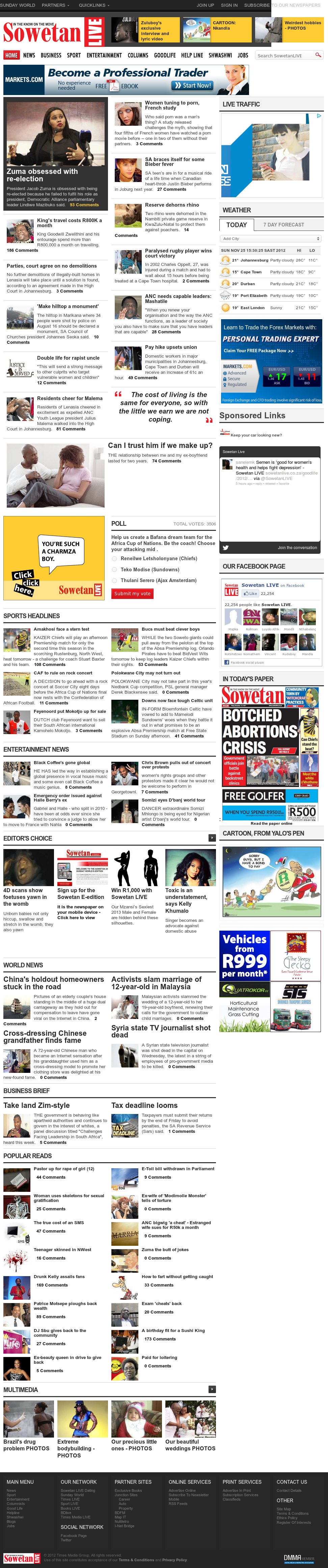 Sowetan Live at Sunday Nov. 25, 2012, 2:28 p.m. UTC