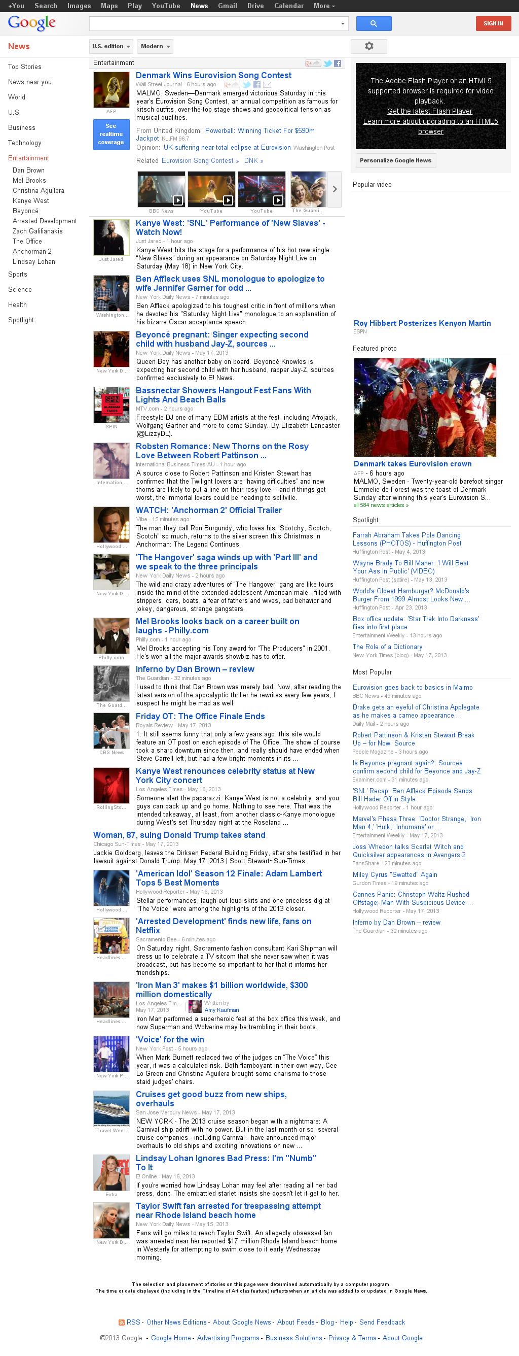 Google News: Entertainment at Sunday May 19, 2013, 8:07 a.m. UTC