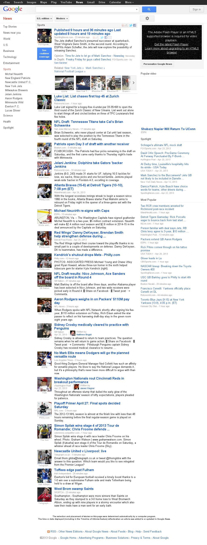 Google News: Sports at Saturday April 27, 2013, 5:09 p.m. UTC
