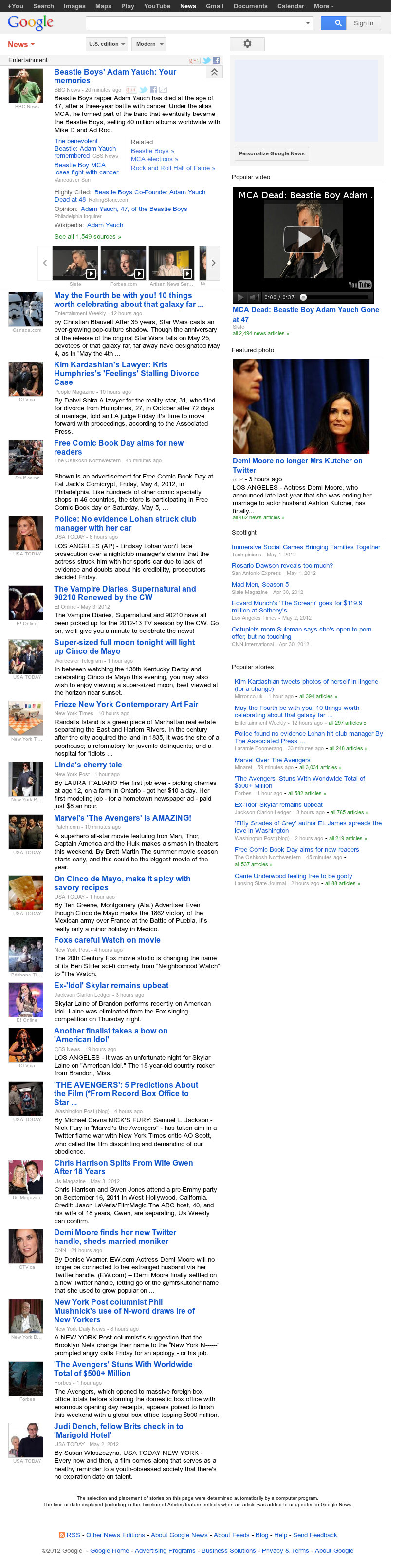 Google News: Entertainment at Saturday May 5, 2012, 10:06 a.m. UTC