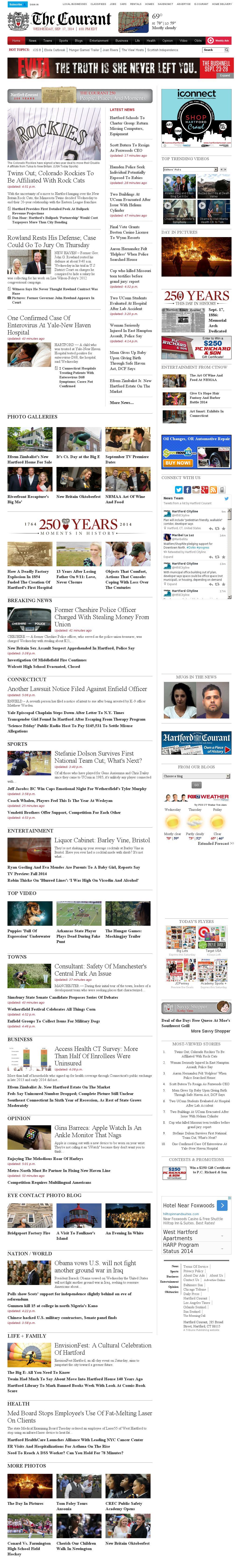 Hartford Courant at Wednesday Sept. 17, 2014, 10:08 p.m. UTC