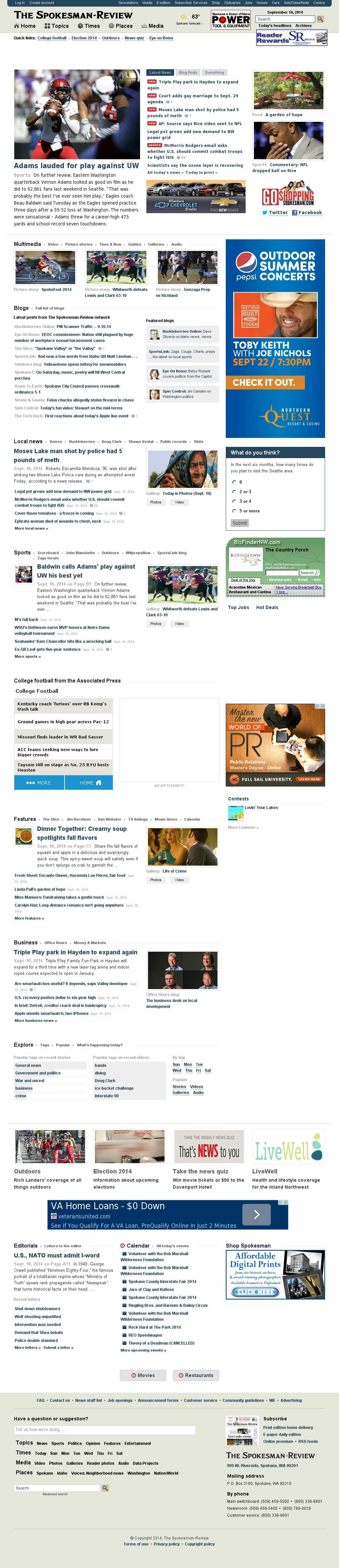 The (Spokane) Spokesman-Review at Wednesday Sept. 10, 2014, 11:26 p.m. UTC