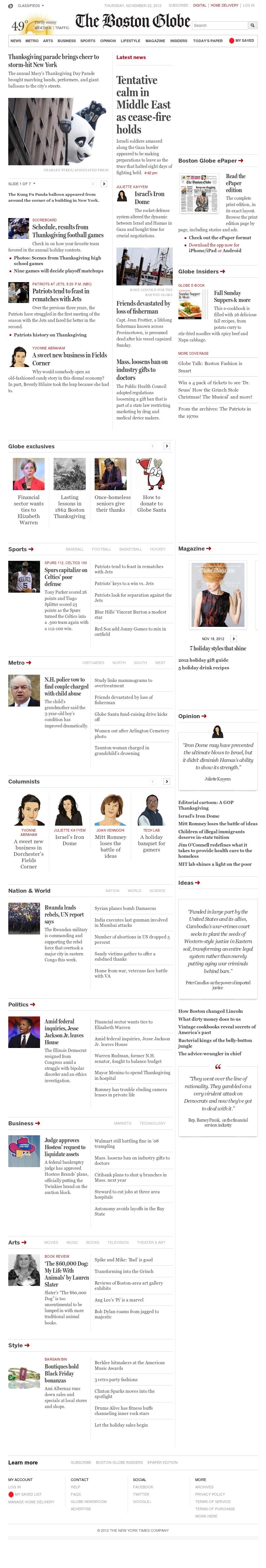 The Boston Globe at Thursday Nov. 22, 2012, 7:02 p.m. UTC