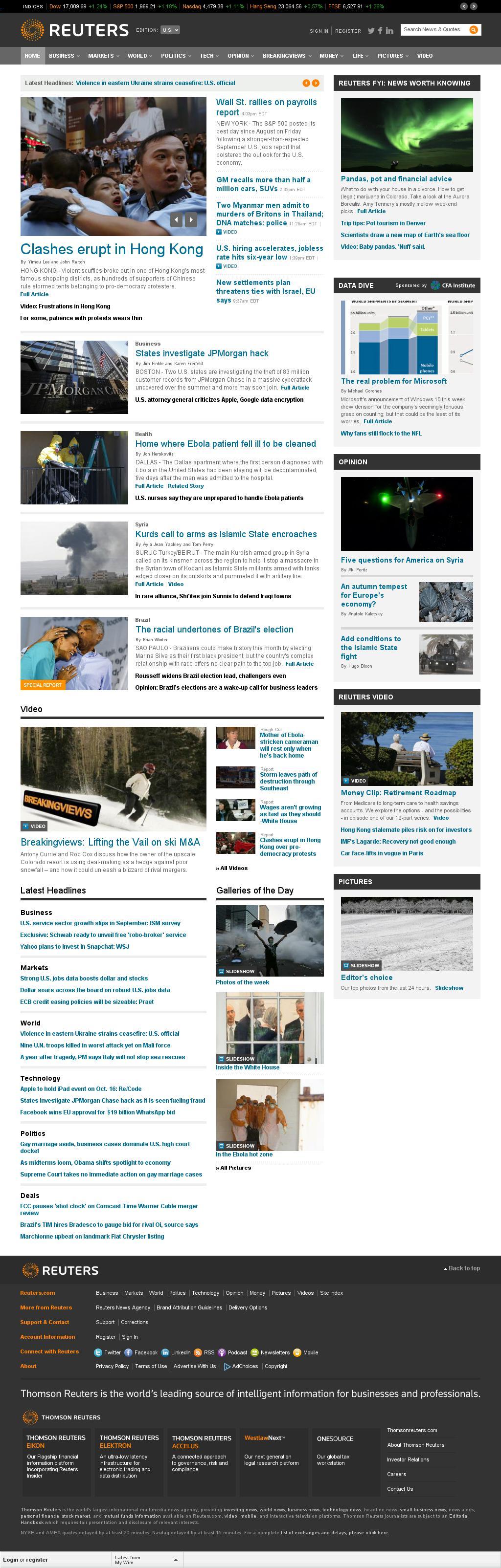 Reuters at Friday Oct. 3, 2014, 8:14 p.m. UTC