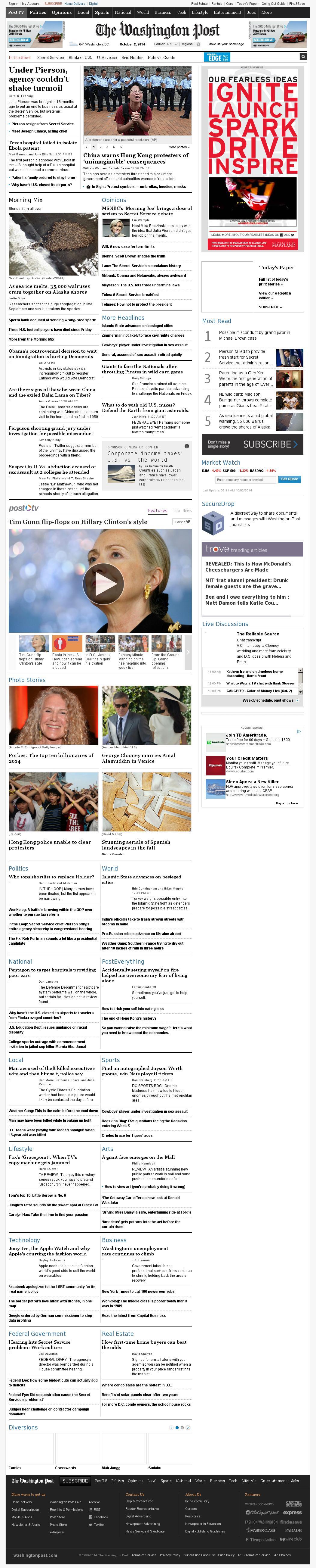 The Washington Post at Thursday Oct. 2, 2014, 1:16 p.m. UTC