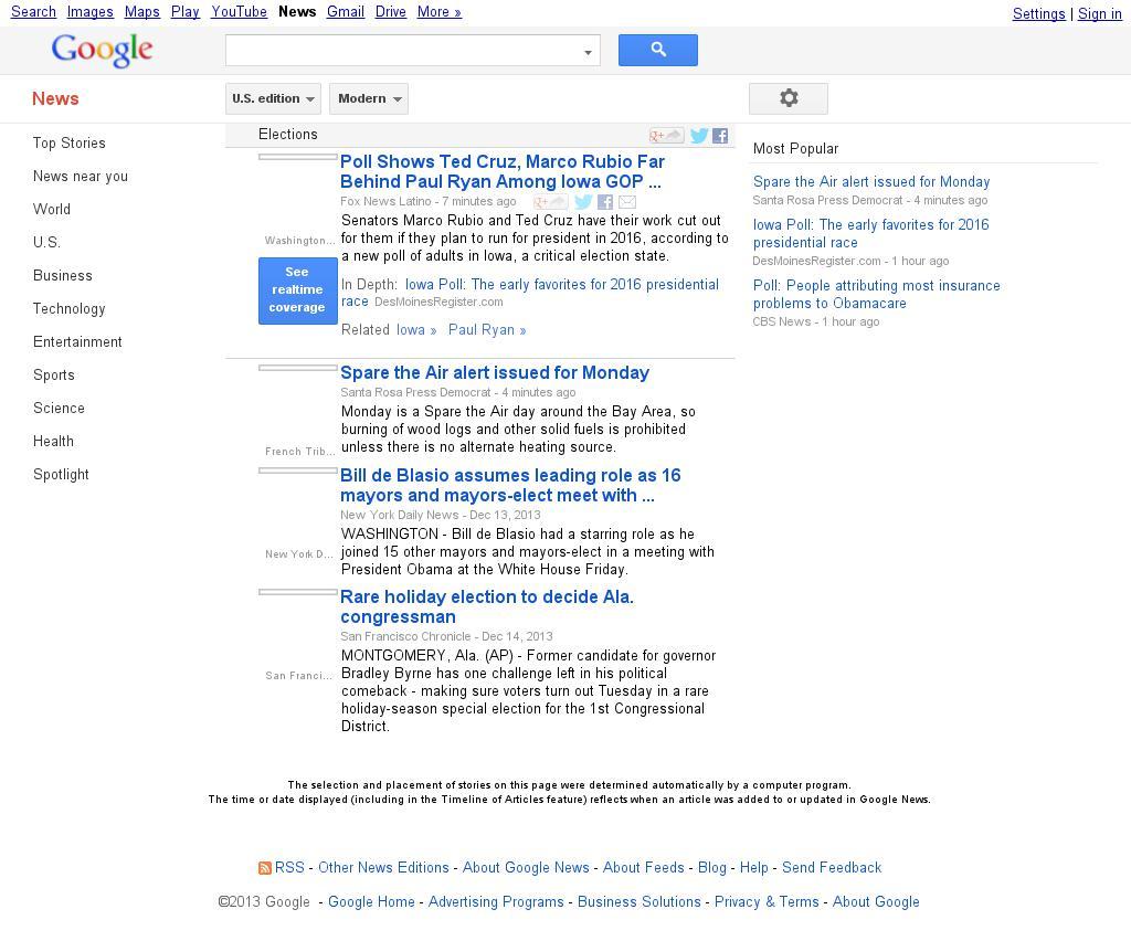 Google News: Elections at Monday Dec. 16, 2013, 5:06 p.m. UTC