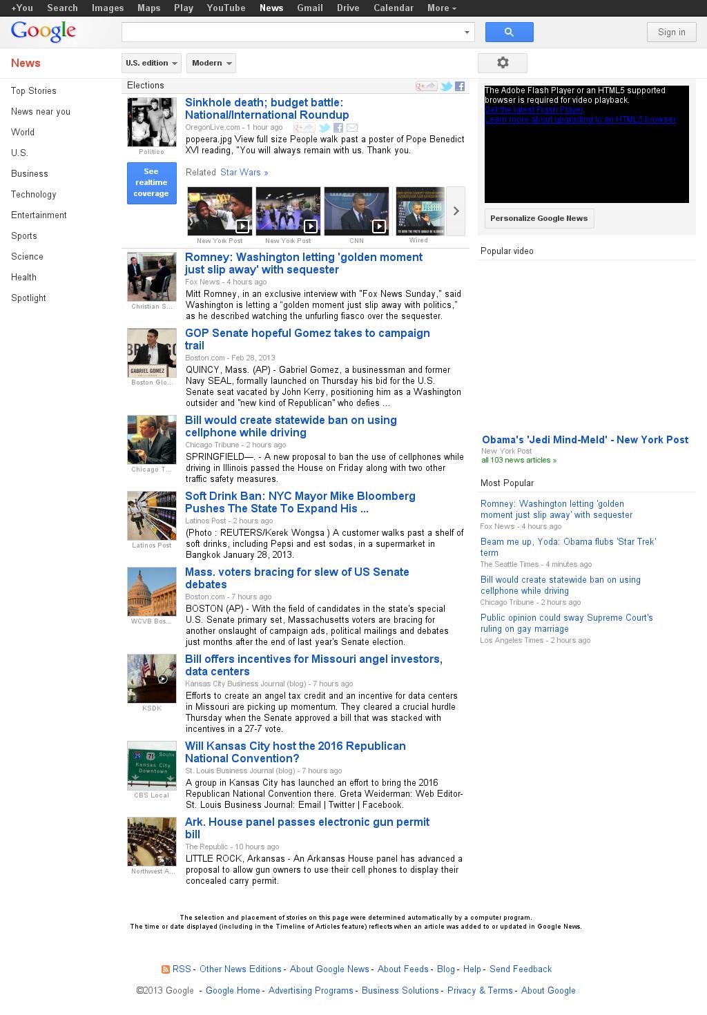 Google News: Elections at Saturday March 2, 2013, 4:06 a.m. UTC