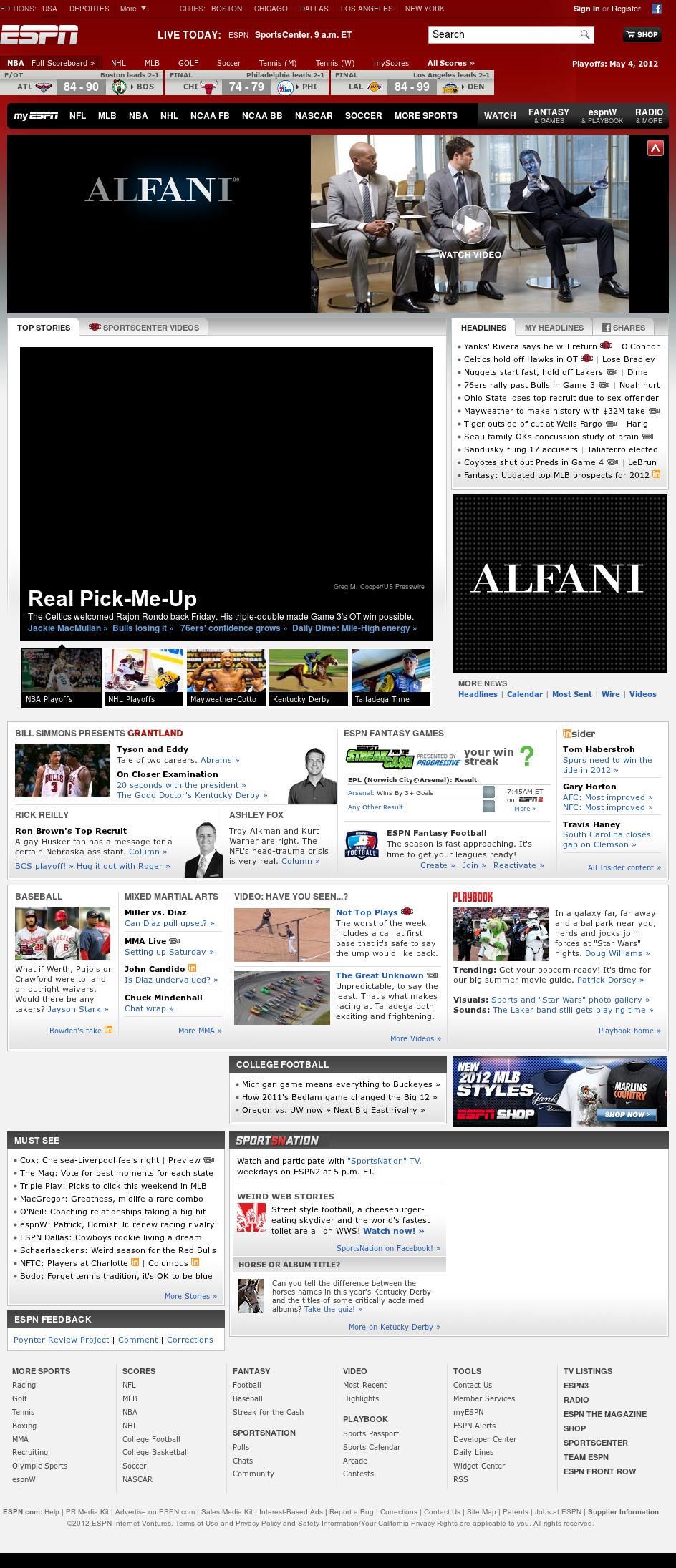 ESPN at Saturday May 5, 2012, 10:04 a.m. UTC