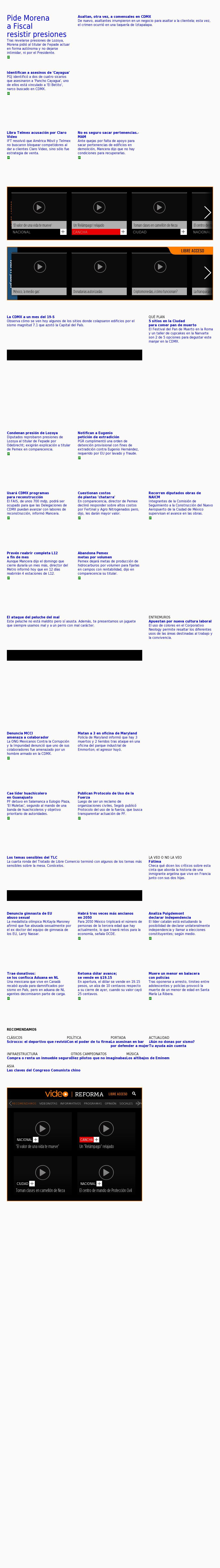 Reforma.com at Wednesday Oct. 18, 2017, 6:17 p.m. UTC