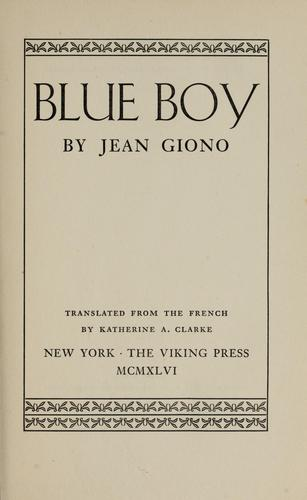 Blue Boy by Jean Giono